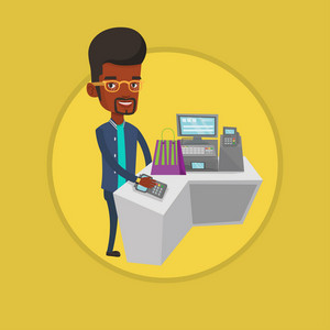 African man paying wireless with his smart watch at the checkout counter. Customer making payment for purchase with smart watch. Vector flat design illustration in the circle isolated on background.