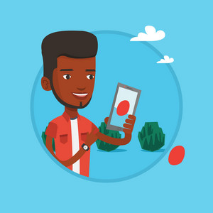 African man playing action game on smartphone. Man playing with his mobile phone outdoor. Man using smartphone for playing games. Vector flat design illustration in the circle isolated on background.
