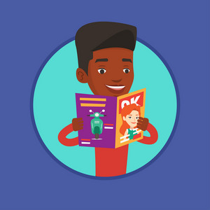 African man reading a magazine. Man standing with magazine in hands. Man holding a magazine. Happy man reading news in magazine. Vector flat design illustration in the circle isolated on background.
