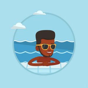 African man relaxing in swimming pool at resort. Man bathing in swimming pool. Guy relaxing in swimming pool on summer vacation. Vector flat design illustration in the circle isolated on background.