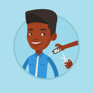 African man removing price tag off new shirt. Man cutting price tag off new clothes with scissors. Man shopping at clothes store. Vector flat design illustration in the circle isolated on background.