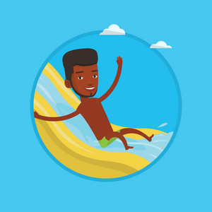 African man riding down a water slide at the aquapark. Man having fun on a water slide in waterpark. Man going down a water slide. Vector flat design illustration in the circle isolated on background.