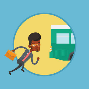 African man running for outgoing bus. Businessman running to catch bus. Man chasing a bus. Latecomer man running to reach a bus. Vector flat design illustration in the circle isolated on background.