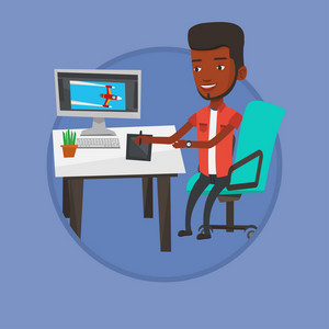 African man sitting at desk and drawing on graphics tablet. Young graphic designer using digital graphics tablet, computer and pen. Vector flat design illustration in the circle isolated on background