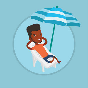 African man sitting in a beach chair. Man resting on holiday while sitting under umbrella on a beach chair. Man relaxing on beach. Vector flat design illustration in the circle isolated on background.