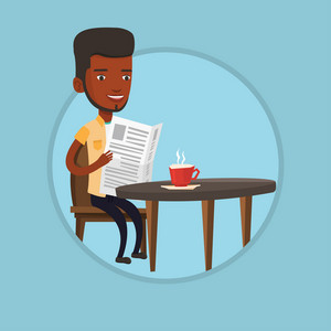 African man sitting with newspaper in hands and drinking coffee. Man reading newspaper in cafe. Man reading news in newspaper. Vector flat design illustration in the circle isolated on background.