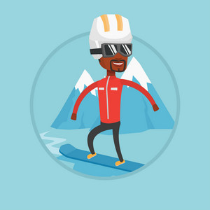 African man snowboarding on the background of mountains. Snowboarder on piste in mountains. Man snowboarding in the mountains. Vector flat design illustration in the circle isolated on background.