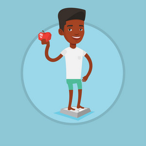 African man standing on scales with an apple in hand. Man satisfied with result of his diet. Joyful man on diet. Dieting concept. Vector flat design illustration in the circle isolated on background.