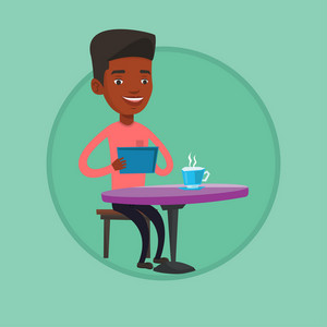 African man using a tablet and surfing in the social network. Man rewriting in social network in a cafe. Social network concept. Vector flat design illustration in the circle isolated on background.
