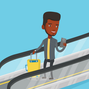 African man using smartphone on escalator in airport. Man standing on escalator with suitcase and looking at mobile phone. Man going down on escalator. Vector flat design illustration. Square layout.