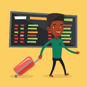 African man walking at the airport. Passenger with suitcase walking on the background of schedule board at the airport. Mn pulling suitcase in airport. Vector flat design illustration. Square layout.