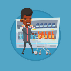 African man walking with cart in supermarket. Man pushing an empty supermarket cart. Customer shopping at supermarket with cart. Vector flat design illustration in the circle isolated on background.