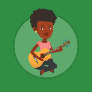 African musician playing an acoustic guitar. Musician sitting with guitar in hands. Young guitarist practicing in playing guitar. Vector flat design illustration in the circle isolated on background.