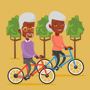 African old couple riding bikes in park. Senior couple riding on bicycles in park. Retired couple biking. Senior people enjoying walk with bicycles. Vector flat design illustration. Square layout.