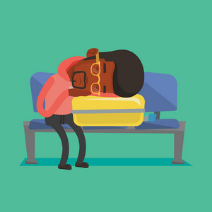 African passenger sleeping on luggage in airport. Exhausted man sleeping on suitcase at airport. Young man waiting for flight and sleeping on suitcase. Vector flat design illustration. Square layout.