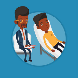 African patient talking about problems with psychotherapist or psychologist. Psychologist having session with depressed patient. Vector flat design illustration in the circle isolated on background.