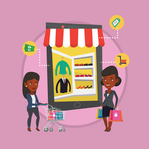 African people doing online shopping. Two women using mobile shopping. People shopping in store that looks like tablet computer. Vector flat design illustration in the circle isolated on background.