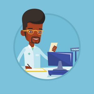 African pharmacist standing at the pharmacy counter with prescription and writing on clipboard. Pharmacist reading prescription. Vector flat design illustration in the circle isolated on background.