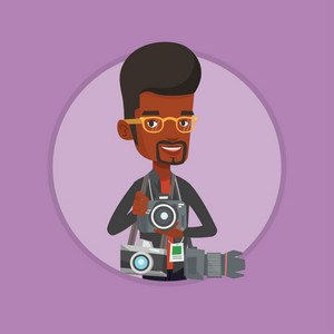African photographer with many photo cameras equipment. Paparazzi with many cameras. Professional journalist with many cameras. Vector flat design illustration in the circle isolated on background.