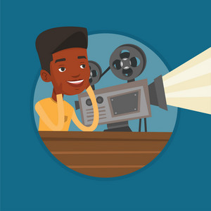 African projectionist showing new film. Man sitting near film projector in the room of projectionist. Young projectionist at work. Vector flat design illustration in the circle isolated on background.
