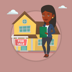 African real estate agent signing home purchase contract. Real estate agent standing in front of the house with placard for sale. Vector flat design illustration in the circle isolated on background.