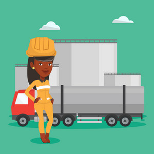 African refinery worker of oil and gas industry. Worker standing on the background of fuel truck and oil refinery plant. Woman working at refinery plant. Vector flat design illustration. Square layout