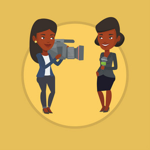 African reporter with microphone presenting the news. Young operator filming reporter. Reporter and operator recording the news. Vector flat design illustration in the circle isolated on background.