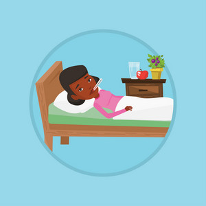 African sick woman with fever laying in bed. Sick woman measuring temperature with thermometer. Sick woman suffering from cold. Vector flat design illustration in the circle isolated on background.