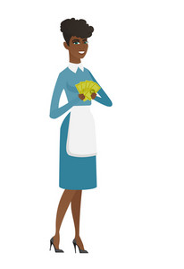 African smiling cleaner holding money. Excited cleaner standing with money in hands. Full length of young cheerful cleaner with money. Vector flat design illustration isolated on white background.