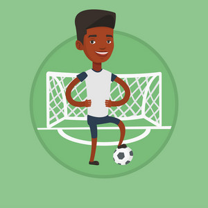 African sportsman standing with football ball on the football stadium. Football player standing with a football ball on the field. Vector flat design illustration in the circle isolated on background.