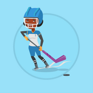 African sportswoman playing ice hockey. Ice hockey player in uniform skating on a rink. Ice hockey player with a stick and puck. Vector flat design illustration in the circle isolated on background.