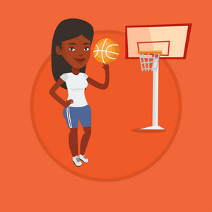 African sportswoman spinning basketball ball on her finger. Basketball player standing on the court. Basketball player in action. Vector flat design illustration in the circle isolated on background