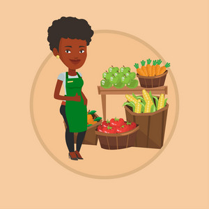 African supermarket worker giving thumb up. Supermarket worker standing on the background of shelves with vegetables and fruits. Vector flat design illustration in the circle isolated on background.