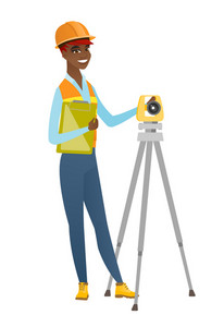 African surveyor builder holding clippboard and working with theodolite. Young surveyor builder standing near theodolite transit equipment. Vector flat design illustration isolated on white background
