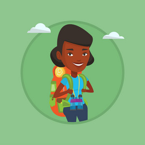 African traveler standing with backpack and binoculars. Traveler woman enjoying recreation time. Traveler during summer trip. Vector flat design illustration in the circle isolated on background.