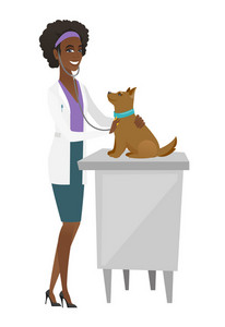 African veterinarian examining dog in hospital. Veterinarian checking heartbeat of a dog with stethoscope. Medicine and pet care concept. Vector flat design illustration isolated on white background.