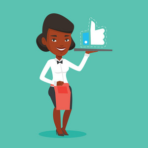 African waitress carrying tray with social network like button. Waitress holding restaurant tray with like button. Waitress with social network button. Vector flat design illustration. Square layout.
