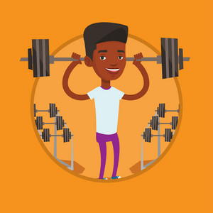 African weightlifter holding a barbell. Sporty man lifting a heavy weight barbell. Strong sportsman doing exercise with barbell. Vector flat design illustration in the circle isolated on background.