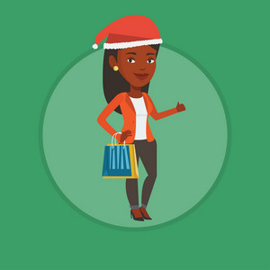 African woman carrying shopping bags. Woman in santa hat holding shopping bags and giving thumb up. Woman buying christmas gifts. Vector flat design illustration in the circle isolated on background