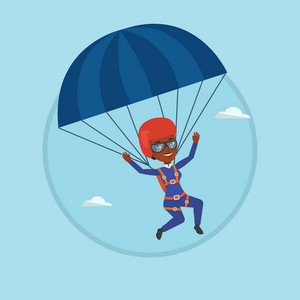 African woman flying with a parachute. Woman paragliding on a parachute. Professional parachutist descending with a parachute. Vector flat design illustration in the circle isolated on background.