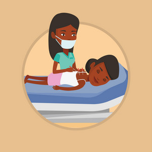 African woman getting acupuncture treatment. Acupuncturist doctor performing acupuncture therapy on back of a customer in salon. Vector flat design illustration in the circle isolated on background.