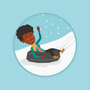 African woman having fun while sledding on snow rubber tube. Woman riding on snow rubber tube. Woman sitting in snow rubber tube. Vector flat design illustration in the circle isolated on background.
