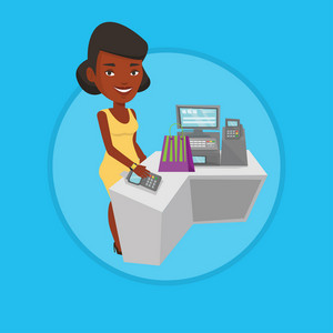 African woman paying wireless with her smart watch at the checkout counter. Customer making payment for purchase with smart watch. Vector flat design illustration in the circle isolated on background.