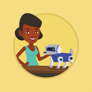 African woman playing with a robotic dog. Woman standing near the table with a cyber dog on it. Woman stroking a robotic dog. Vector flat design illustration in the circle isolated on background.