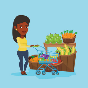 African woman pushing a supermarket cart with some healthy products in it. Customer shopping at supermarket with cart. Woman buying healthy products. Vector flat design illustration. Square layout.