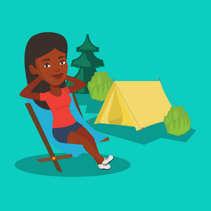 African woman relaxing in camping. Woman sitting in folding chair on the background of camping site with tent. Woman enjoying her vacation in camping. Vector flat design illustration. Square layout.