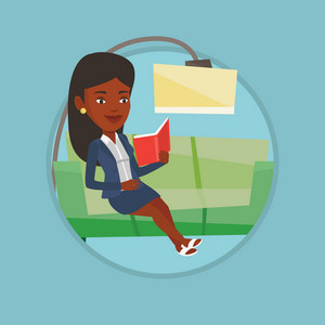 African woman relaxing with book on the couch at home. Woman reading a book on a sofa. Woman sitting on sofa and reading a book. Vector flat design illustration in the circle isolated on background.