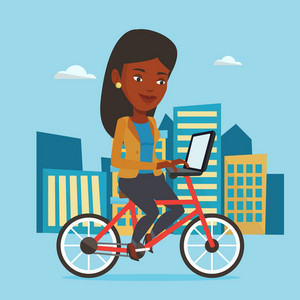 African woman riding a bicycle to work in the city. Business woman with laptop on a bike. Business woman working on a laptop while riding a bicycle. Vector flat design illustration. Square layout.