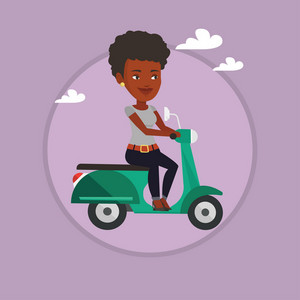 African woman riding a scooter outdoor. Woman driving a scooter. Woman enjoying his trip on a scooter. Girl traveling on a scooter. Vector flat design illustration in the circle isolated on background