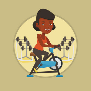 African woman riding stationary bicycle. Woman exercising on stationary training bicycle. Woman training on exercise bicycle. Vector flat design illustration in the circle isolated on background.